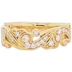 Diamond Floral Band Half Carat, 50 Carat Diamond Wedding Band in 14k Yellow Gold