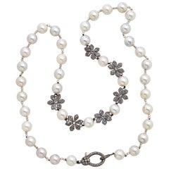 Diamond Floral Charm Necklace with Genuine Akoya Pearls & Natural Pyrite