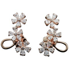 Diamond Floral Climbers Fashion Earring in 18 Karat Gold