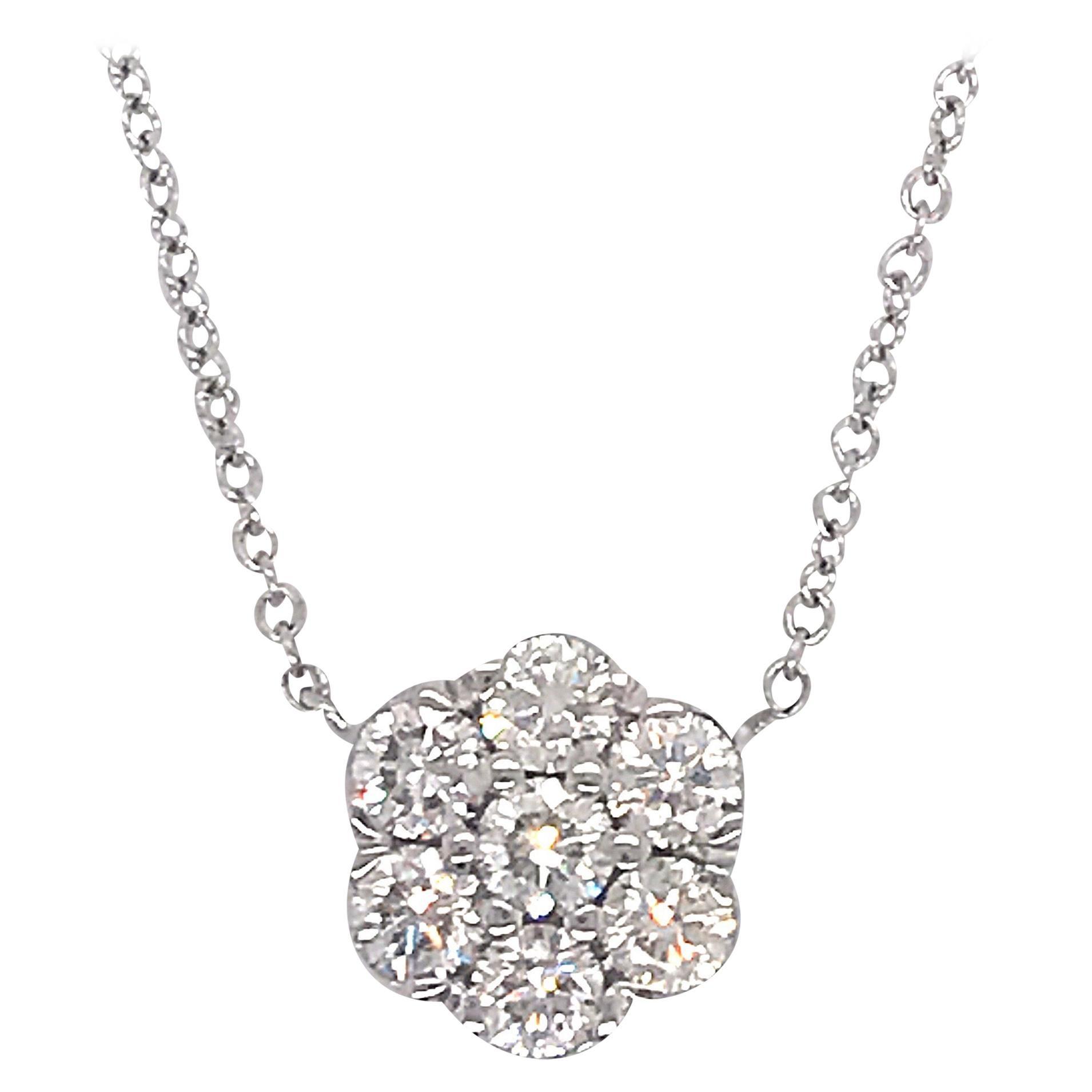 Diamond Floral Cluster Pendant 1.04 Carat 18 Karat White Gold