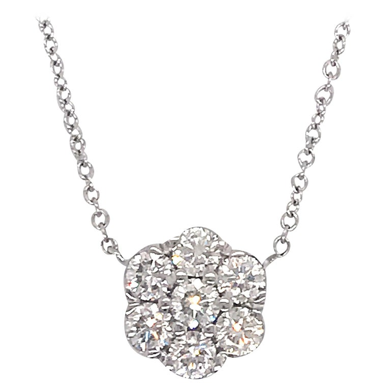 Diamond Floral Cluster Pendant 1.04 Carat 18 Karat White Gold For Sale