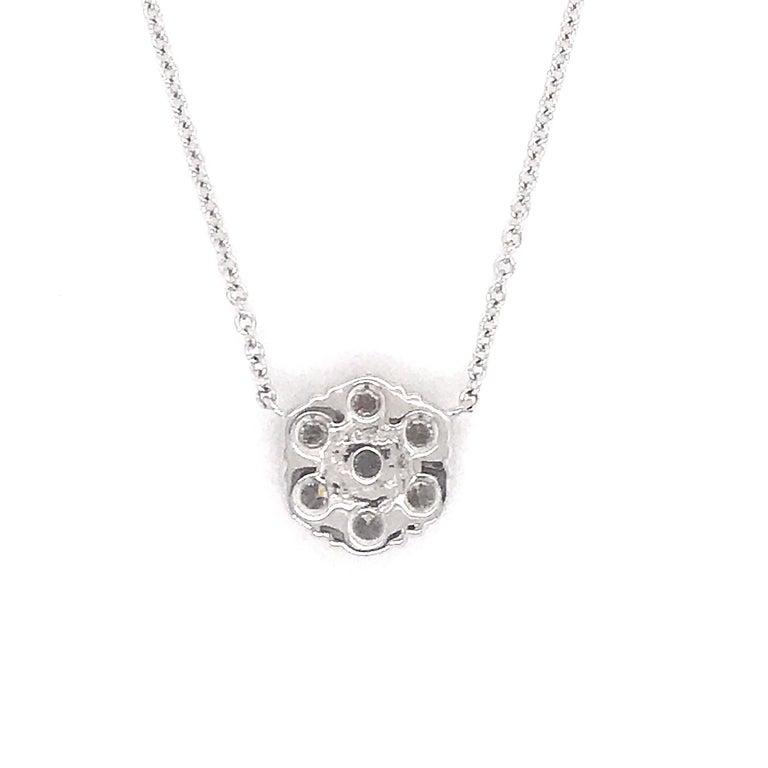 Contemporary Diamond Floral Cluster Pendant 1.04 Carat 18 Karat White Gold For Sale