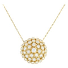 Diamond Floral Cluster Pendant Necklace, 18 Karat Gold Round Cut 2.00 Carat