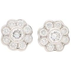 Diamond Floral Cluster Stud Earrings Set in 18 Karat White Gold