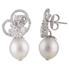 Diamond Floral Dangling Earrings with Pearls in 18 Karat Gold