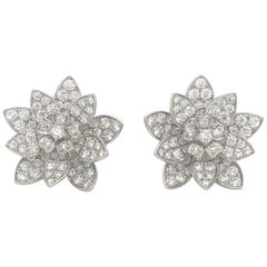 Diamond Floral Earrings 3.87 Carat 18 Karat White Gold