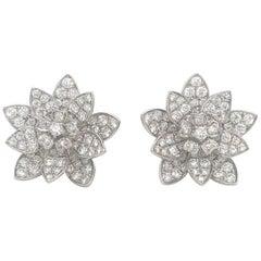 Diamond Floral Earrings 3.87 Carat 18 Karat White Gold