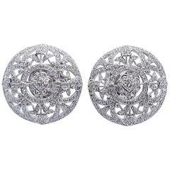Diamond Floral Earrings Set in 18 Karat White Gold Settings