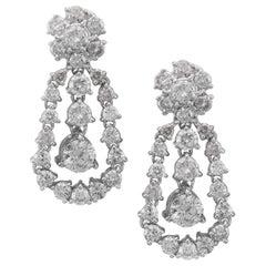 Diamond Floral Edwardian Style Cluster Drop Earrings 4.40 Carat Diamonds