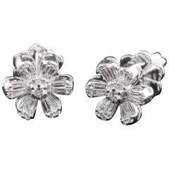 Diamond Floral Illusion Stud Earring in 18 Karat Gold