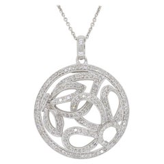 Diamond Floral Medallion Style Pendant Necklace