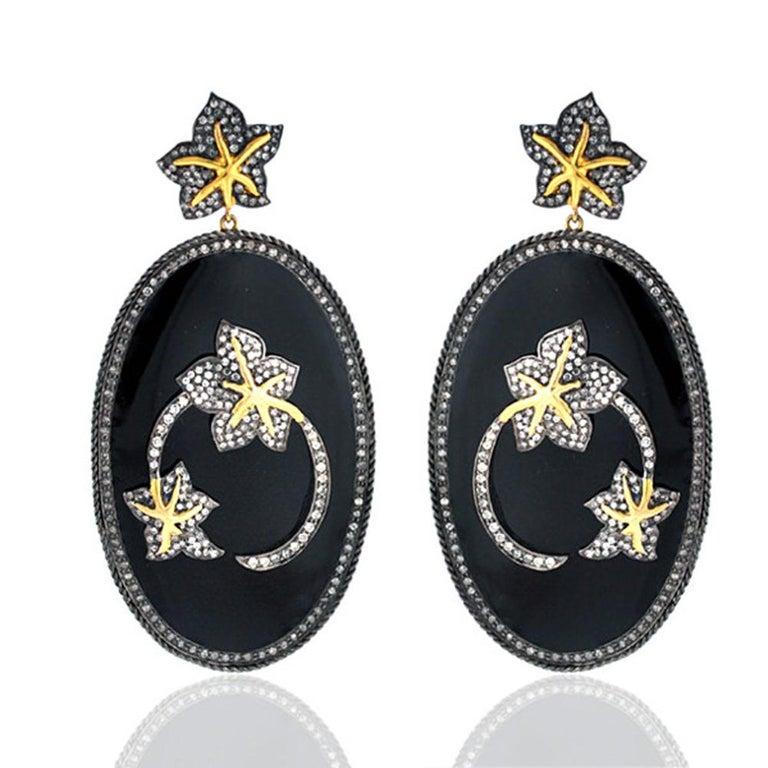 Contemporary Diamond Floral Motif on Enamel Earring For Sale