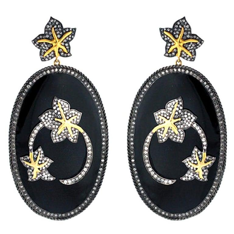 Diamond Floral Motif on Enamel Earring For Sale