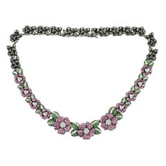 Diamond floral necklace set in black gold