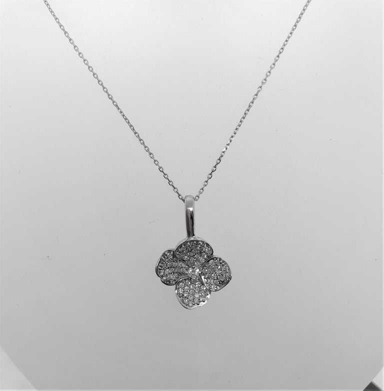 Contemporary Diamond Floral Pendant 18 Karat White Gold For Sale