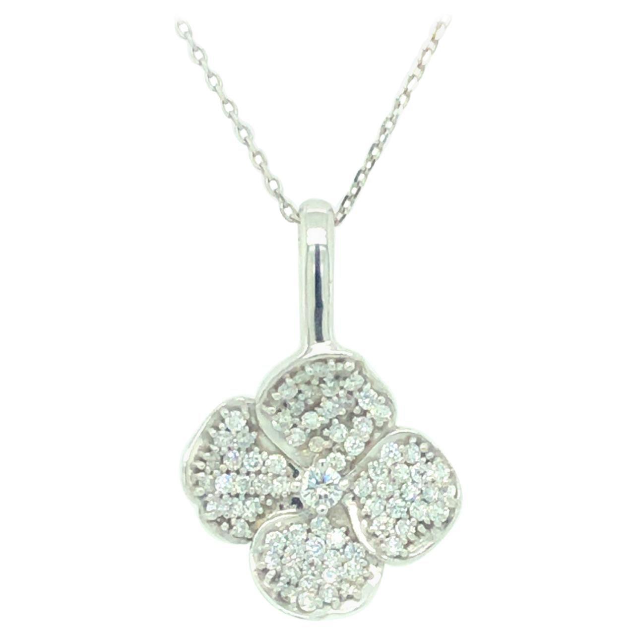Diamond Floral Pendant 18 Karat White Gold