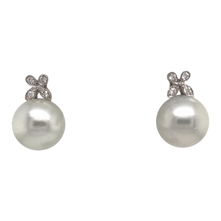 Diamond Floral South Sea Pearl Earrings 0.19 Carat 18 Karat White Gold For Sale