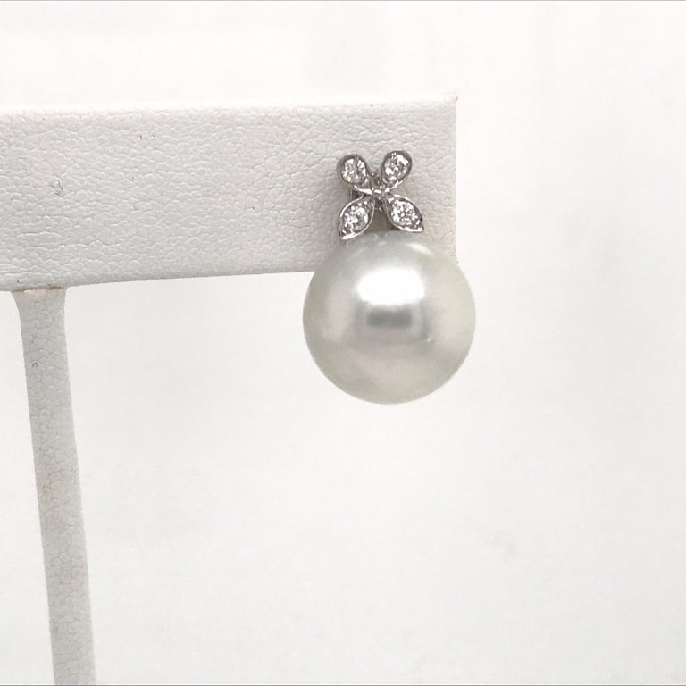 Contemporary Diamond Floral South Sea Pearl Earrings 0.19 Carat 18 Karat White Gold For Sale
