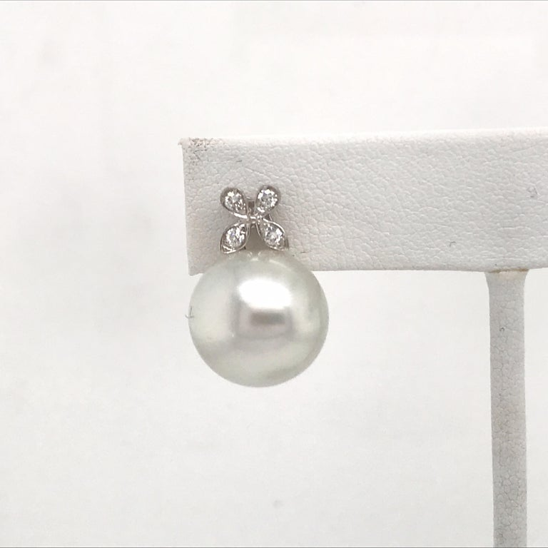 Round Cut Diamond Floral South Sea Pearl Earrings 0.19 Carat 18 Karat White Gold For Sale