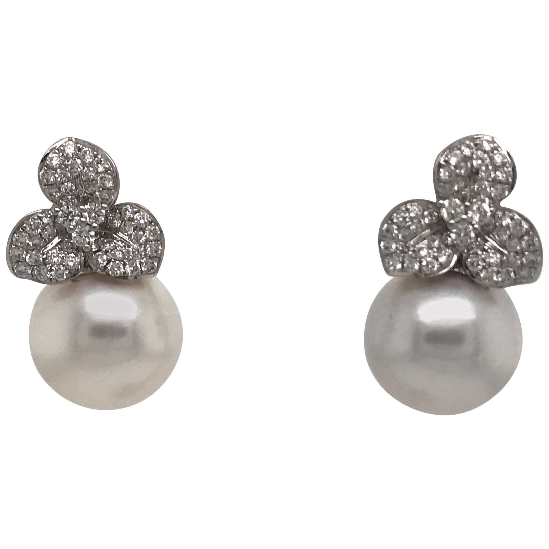 Diamond Floral South Sea Pearl Earrings 0.88 Carat 18 Karat White Gold