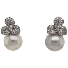 Diamond Floral South Sea Pearl Earrings 0.88 Carat 18 Karat White Gold