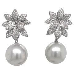 Diamond Floral South Sea Pearl Earrings 1.62 Carat 18 Karat White Gold