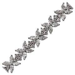Diamond Floral Tennis Bracelet in 18 Carat White Gold