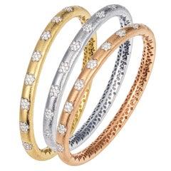 Manpriya B Diamond Flower 18K White, Rose, Yellow Gold Set Bangles Bracelet