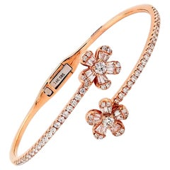 Diamond Flower Bangle in 14 Karat Rose Gold