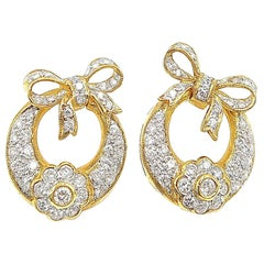 Diamond Flower Basket with Ribbon 18 Karat Yellow Gold Earrings