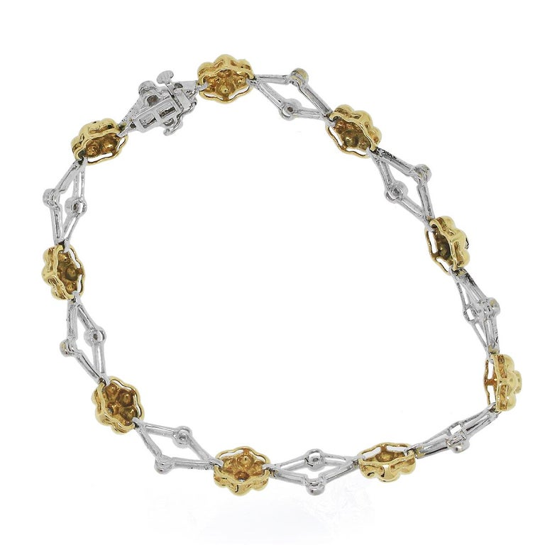 Round Cut Diamond Flower Bracelet For Sale