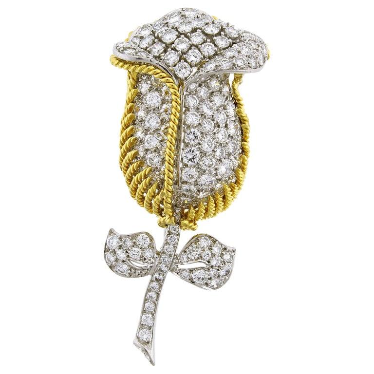 Diamond Flower Brooch For Sale