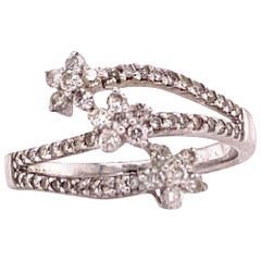 Diamond Flower Bypass Ring 18 Karat White Gold