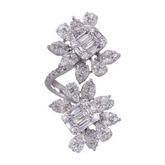 Diamond Flower Bypass Ring