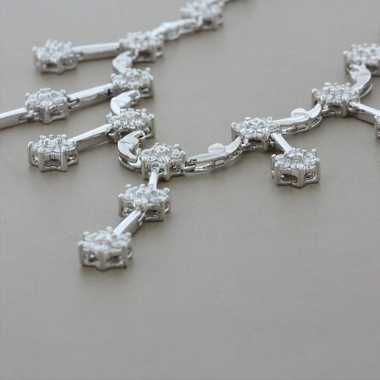 Women's Diamond Flower Chandelier Drops Necklace For Sale