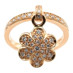 Diamond Flower Charm Ring Rose Gold Made in Italy