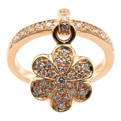 Gilberto Cassola Diamond Flower Charm Ring Rose Gold Made in Italy