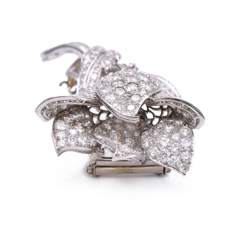 Artist Diamond Flower Clip-Brooch For Sale
