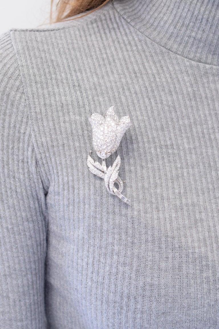 Women's Diamond Flower Clip-Brooch For Sale