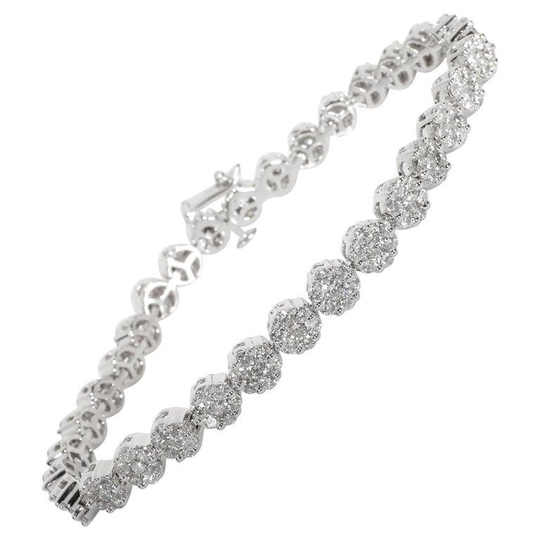 Diamond Flower Cluster Bracelet in 14 Karat White Gold 6.00 Carat