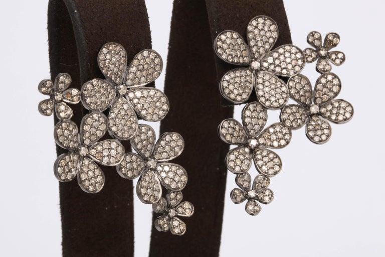 Women's or Men's Diamond Flower Cluster Earrings For Sale