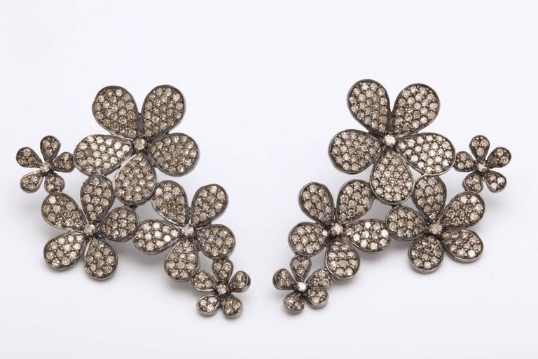 Diamond Flower Cluster Earrings For Sale 1