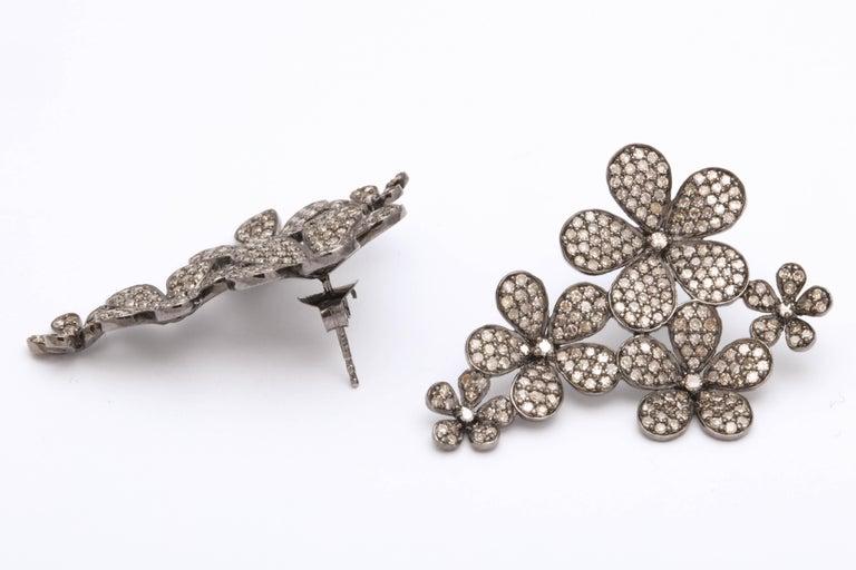 Diamond Flower Cluster Earrings For Sale 2