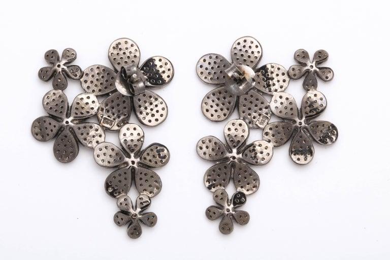 Diamond Flower Cluster Earrings For Sale 4