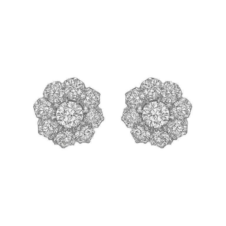 Diamond Flower Cluster Stud Earrings