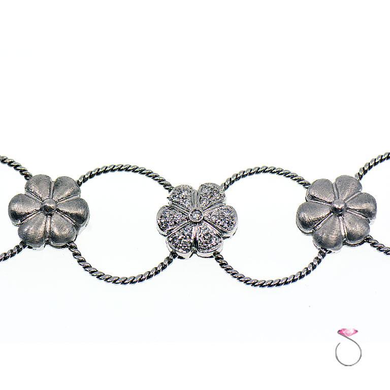 Diamond Flower Design Choker Necklace 18k Gold, 0.70 ctw