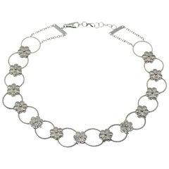 Diamond Flower Design Choker Necklace 18k Gold, 0.70 ctw. By Assor Gioielli