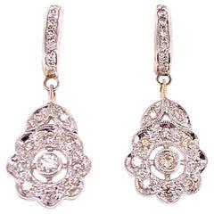 Modern Diamond Floral Drop Dangle Earrings 18 Karat White Gold