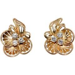 Diamond Flower Ear Clips, Earrings, Rose Gold
