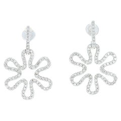 Diamond Flower Earrings, 14 Karat White Gold Dangle Pierced Round Cut .68 Carat